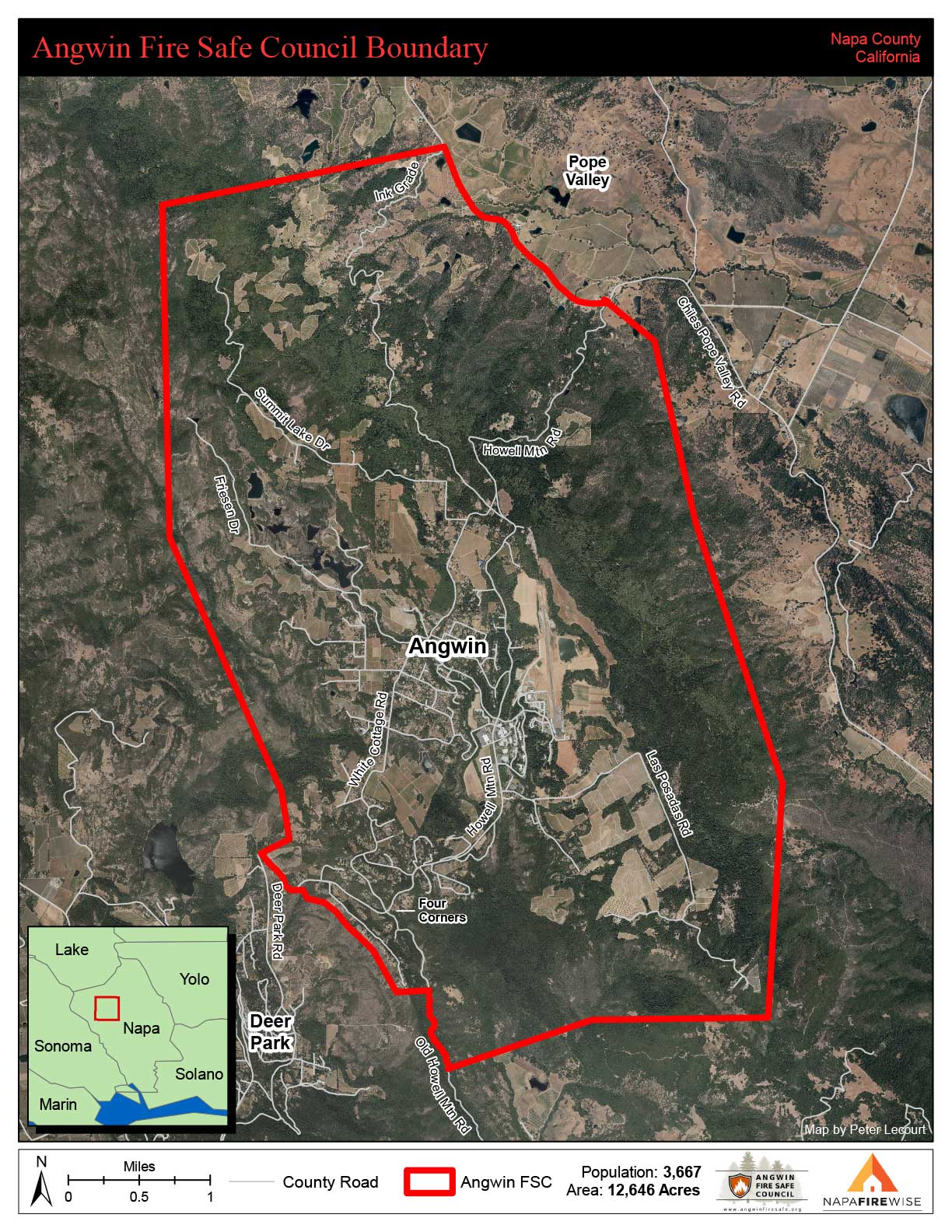 map of Angwin Fire Safe Council boundaries